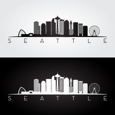 Seattle USA skyline and landmarks silhouette, black and white design