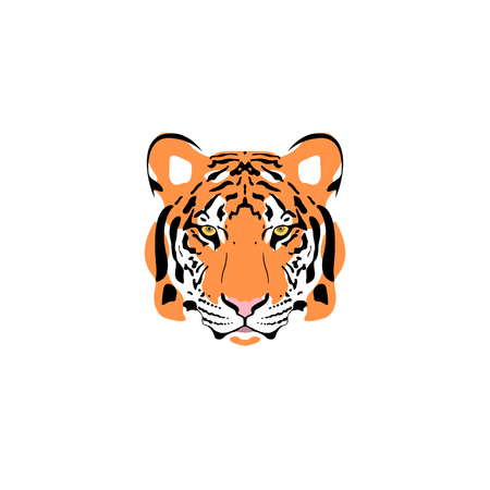 illustration of a tiger head. Suitable as tattoo, team mascot, symbol for zoo or animal preservation center.