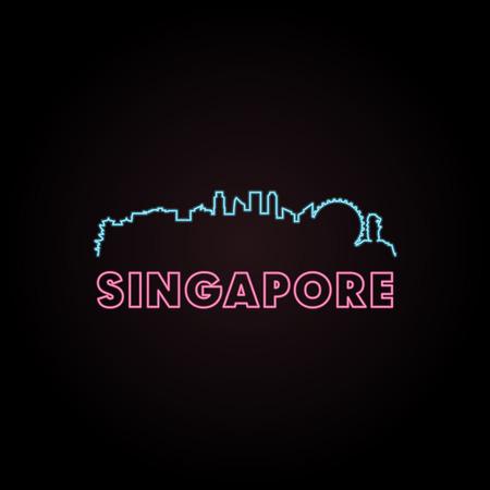 Singapore skyline neon style in editable vector file. Illustration