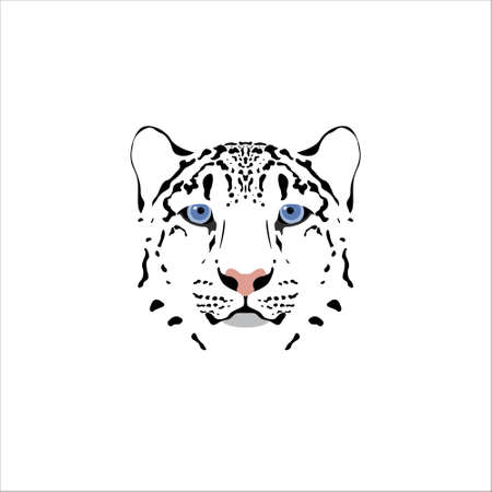 snow leopard: Vector illustration of a snow leopard head. Suitable as tattoo, team mascot, symbol for zoo or animal preservation center.