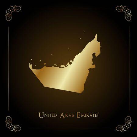 UAE golden map. Luxurious design element, vector illustration.
