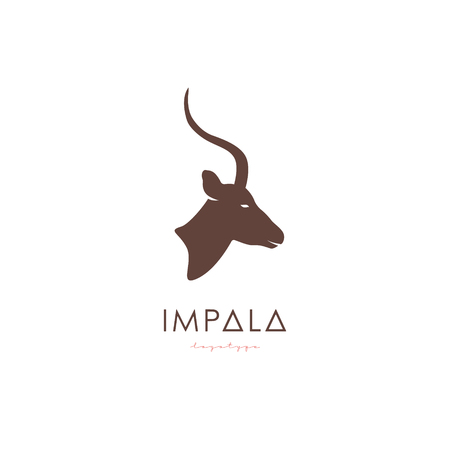 Artistic stylized Impala logotype. Antelope silhouette wild animals. Creative art logo design. Vector illustration.