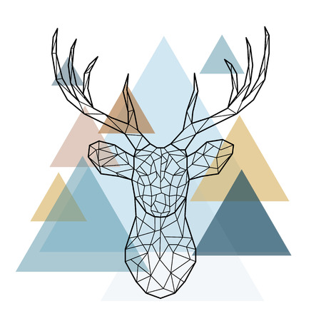 Geometric reindeer illustration. Vector low poly line art. Geometric deer head. Scandinavian style