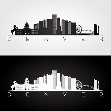 Denver USA skyline and landmarks silhouette, black and white design, vector illustration. Çizim