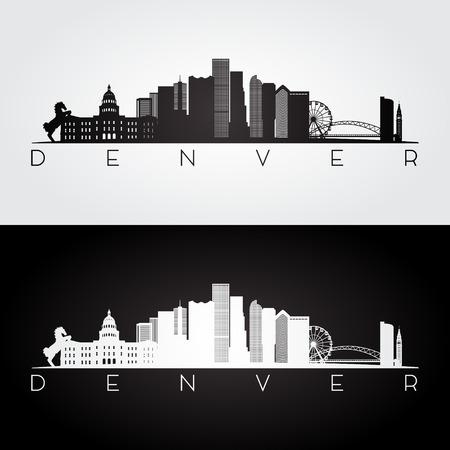 Orizzonte di Denver USA e siluetta dei punti di riferimento, progettazione in bianco e nero, illustrazione di vettore. Archivio Fotografico - 68754805