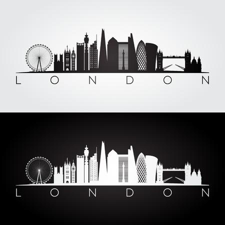 De horizon van Londen en oriëntatiepuntensilhouet, zwart-wit ontwerp, vectorillustratie. Stock Illustratie
