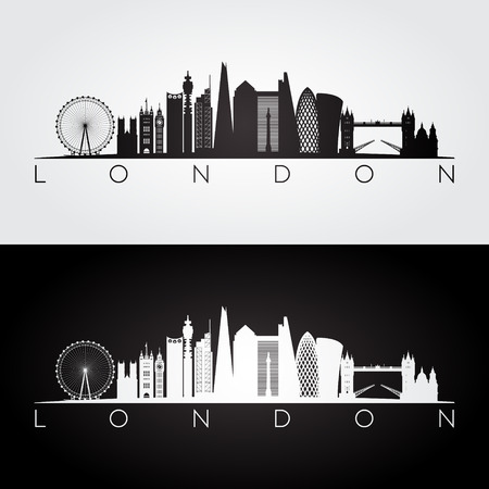London skyline and landmarks silhouette, black and white design, vector illustration.