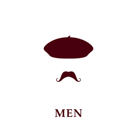 Fashion men beret and mustache icon in flat style. Vector illustration. Illustration