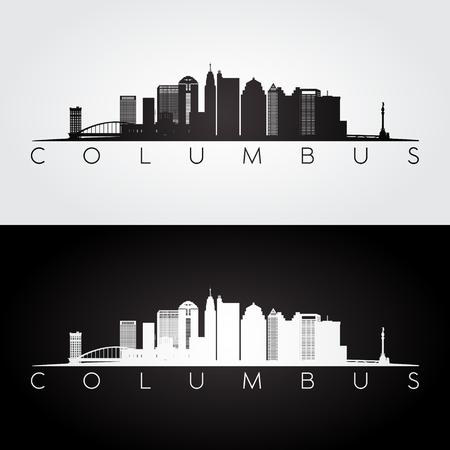 Columbus USA skyline and landmarks silhouette, black and white design, vector illustration.
