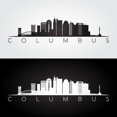 Columbus USA skyline and landmarks silhouette, black and white design, vector illustration.