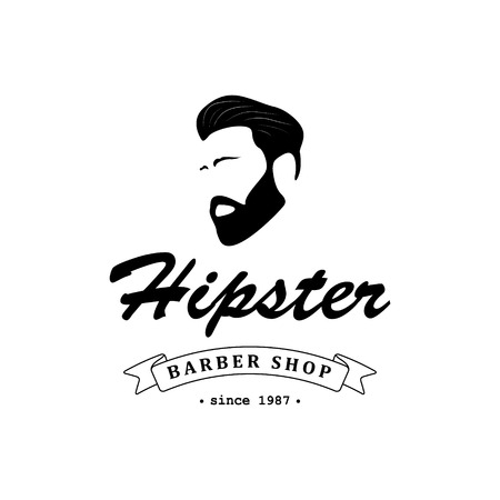 Logo for barber shop, hair salon with hipster head and barber scissors. Vector Illustration.