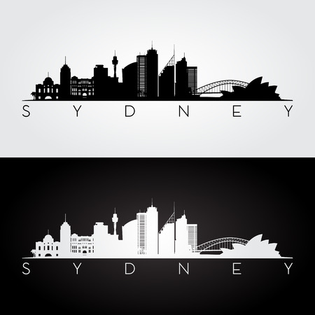 De horizon van Sydney en oriëntatiepuntensilhouet, zwart-wit ontwerp, vectorillustratie.