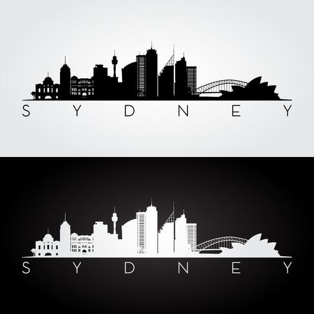 Sydney skyline and landmarks silhouette, black and white design, vector illustration. Vettoriali