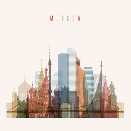 tv tower: Transparent style Moscow skyline detailed silhouette. Trendy vector illustration Illustration