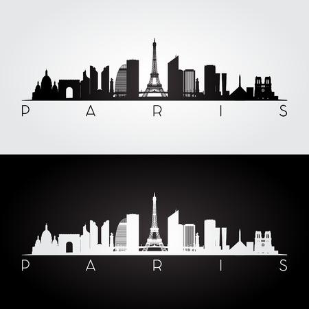 Paryska linia horyzontu i punkt zwrotny sylwetka, czarny i biały projekt, wektorowa ilustracja. Ilustracje wektorowe