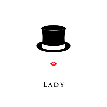 Lady wearing Cylinder hat and lipstick. Vector illustration.