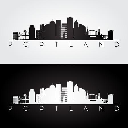 pacific northwest: Portland USA skyline and landmarks silhouette, black and white design, vector illustration.