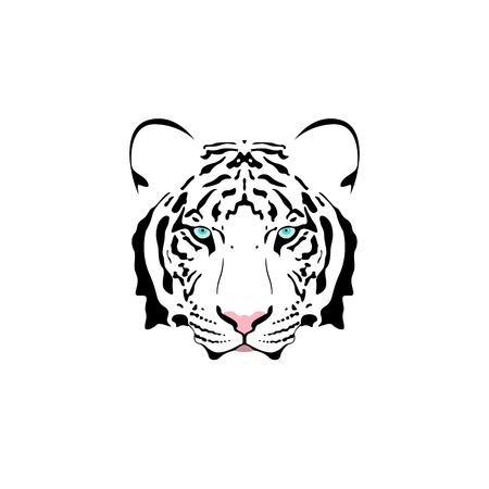 Vector illustration of a white tiger head with blue eye. Suitable as tattoo, team mascot, symbol for zoo or animal preservation center. Illustration