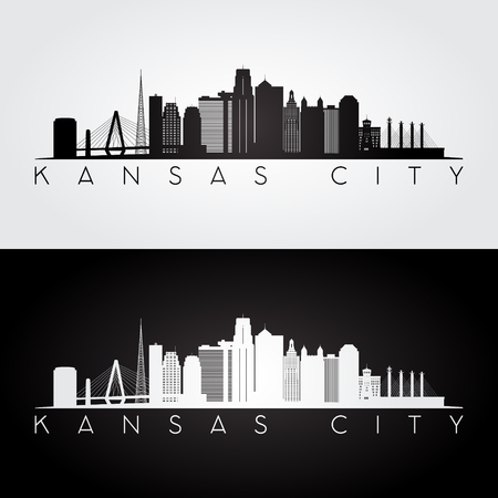 Kansas City USA skyline and landmarks silhouette, black and white design, vector illustration. Иллюстрация