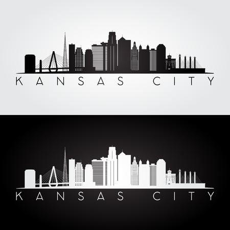 Kansas City USA skyline and landmarks silhouette, black and white design, vector illustration. Ilustração