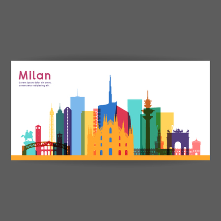 Milan colorful architecture vector illustration, skyline city silhouette, skyscraper, flat design. 矢量图像
