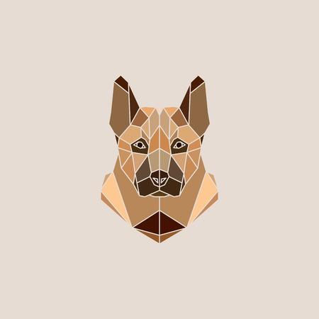 german shepherd dog: German Shepherd dog portrait vector illustration in modern geometric style. Illustration