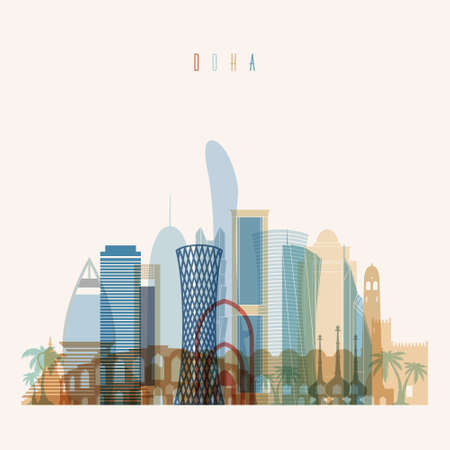Transparent style Doha skyline detailed silhouette. Trendy vector illustration.