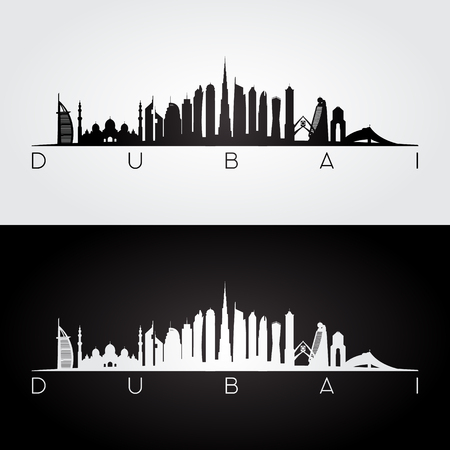 Dubai UAE skyline and landmarks silhouette, black and white design, vector illustration.