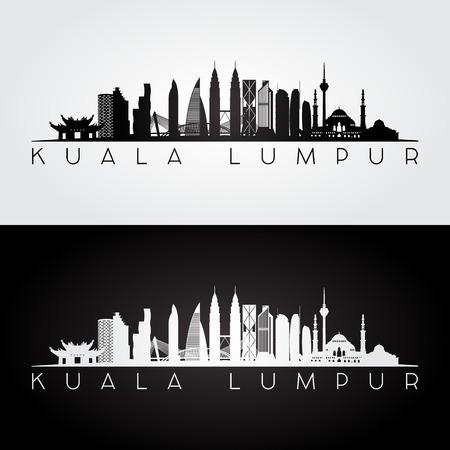 Kuala Lumpur linia horyzontu i punkt zwrotny sylwetka, czarny i biały projekt, wektorowa ilustracja.