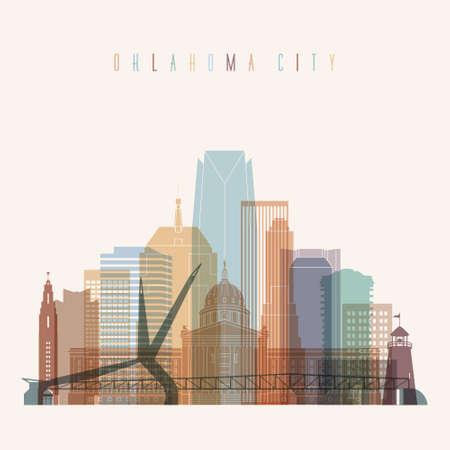 oklahoma city: Transparent style Oklahoma City state Oklahoma skyline detailed silhouette. Trendy vector illustration