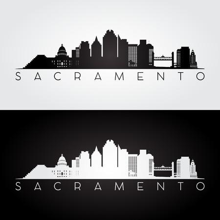 Sacramento USA skyline and landmarks silhouette, black and white design, vector illustration. Vettoriali