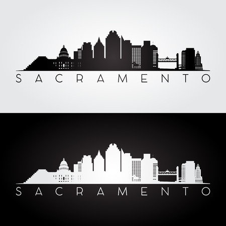 Sacramento USA skyline and landmarks silhouette, black and white design, vector illustration. 矢量图像