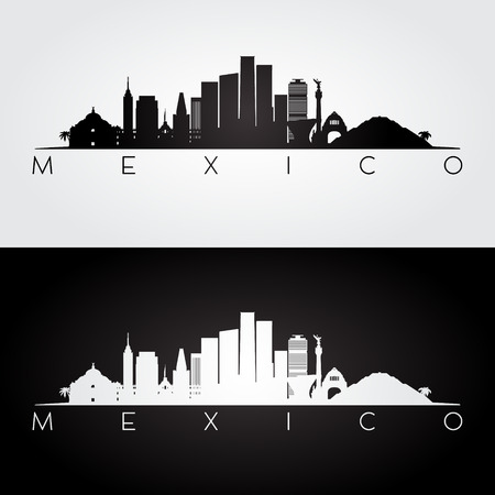 México horizonte y puntos de referencia silueta, diseño blanco y negro, ilustración vectorial.