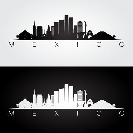 Messico skyline e punti di riferimento silhouette, disegno in bianco e nero, illustrazione vettoriale.