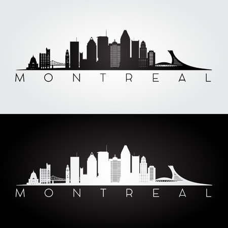 Montreal skyline and landmarks silhouette, black and white design, vector illustration.