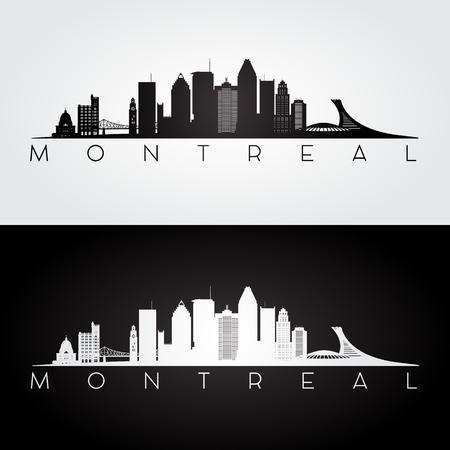 De horizon van Montreal en oriëntatiepuntensilhouet, zwart-wit ontwerp, vectorillustratie.
