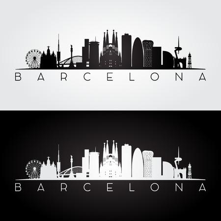 Barcelona skyline and landmarks silhouette, black and white design, vector illustration. 일러스트