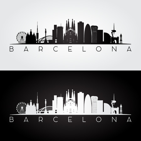 Barcelona skyline and landmarks silhouette, black and white design, vector illustration. 向量圖像
