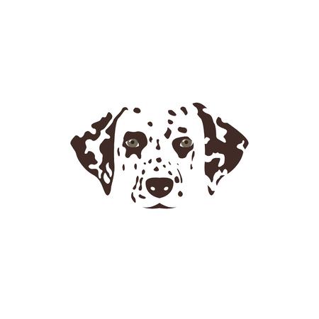 Cabeza dálmata Perro manchado marrón. Ilustración vectorial