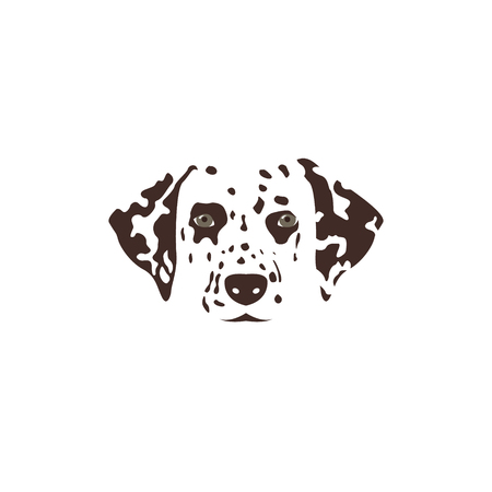 dalmatian: Dalmatian head. Brown spotty dog.  Vector illustration.