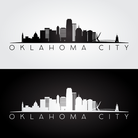 Oklahoma City USA skyline and landmarks silhouette, black and white design, vector illustration.