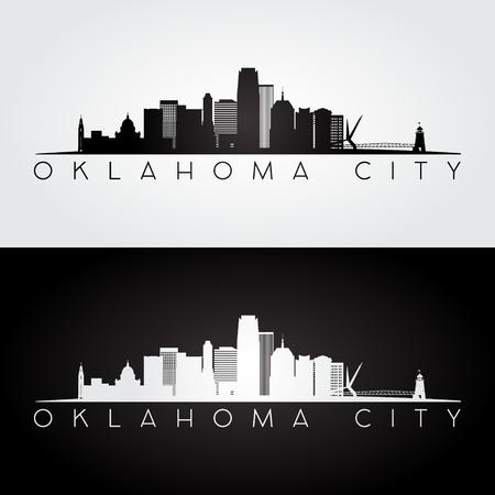 Orizzonte di Oklahoma City USA e siluetta dei punti di riferimento, progettazione in bianco e nero, illustrazione di vettore.