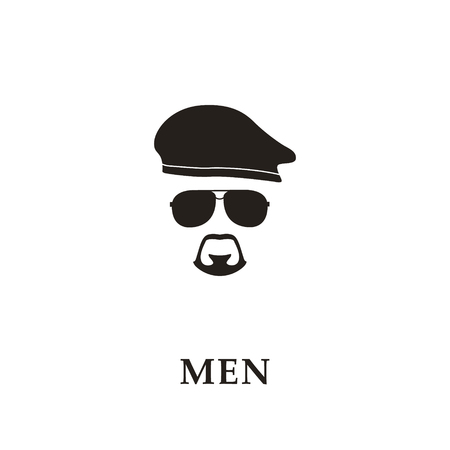 Silhouette soldier with beret, sunglasses and goatee. Vector illustration.