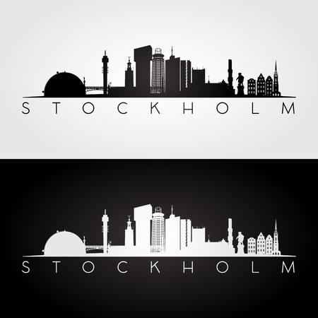 Stockholm skyline and landmarks silhouette, black and white design, vector illustration. Vettoriali