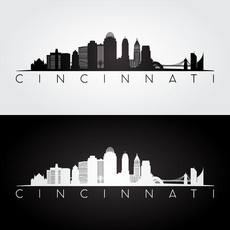Cincinnati USA skyline and landmarks silhouette, black and white design, vector illustration. 矢量图像