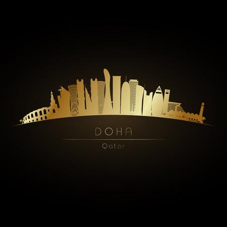 figura: Golden logo Doha ity skyline. Ilustração da silhueta do vetor