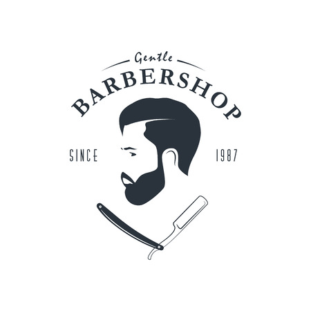 Vintage barber shop logo. Hipster emblem. For Label, Badge, Sign or Advertising. Vector illustration. Illustration