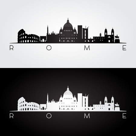 Rome skyline and landmarks silhouette, black and white design, vector illustration. Фото со стока - 72016643