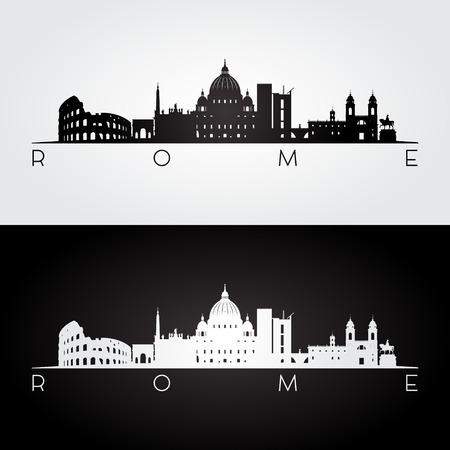 Rzym panoramę i sylwetkę zabytków, czarno-biały design, ilustracji wektorowych.