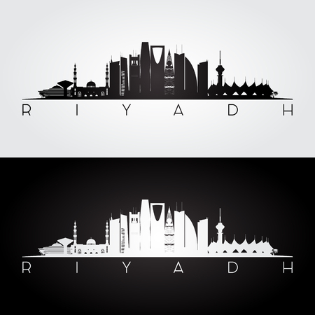 Riyadh skyline and landmarks silhouette, black and white design, vector illustration. 矢量图像